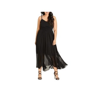 City Chic Womens Maxi Dress Shirred Tea-Length