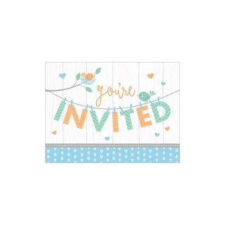 """Pack of 48 White and Blue """"Hello Baby"""" Invitation Place Cards 8.5"""""""