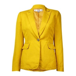 Tahari Women's Solid Notched Lapel Faux Pocket Linen Blend Blazer - Honey