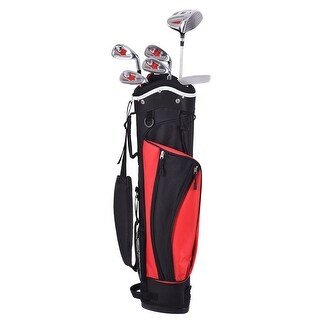 Gymax 6 Piece Golf Club Set for Kids Wood Iron Putter Red