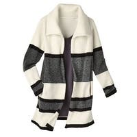 Women's Sweater Coat - Black/White Colorblock Open Front Layering Sweater