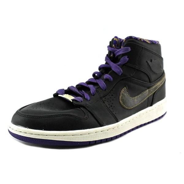 Jordan Air Jordan Mid 1 Nouveau Men Black/Metallic Gold-Crt Purple Basketball Shoes