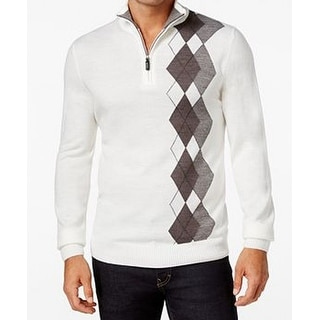 Tricots St. Raphael NEW Ivory Mens Size Small S Argyle 1/2 Zip Sweater