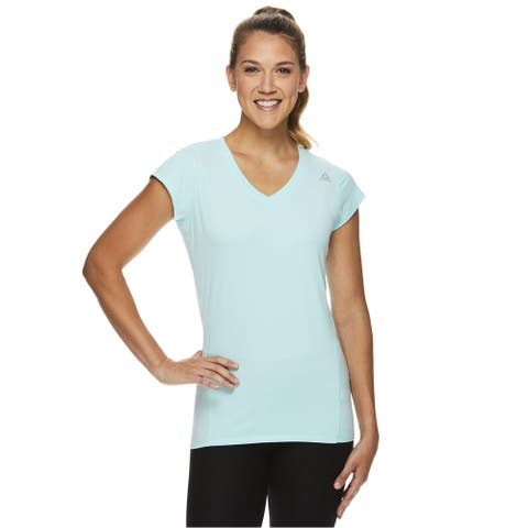 Reebok Womens V-neck Fitted Performance Basic T-Shirt, Blue, X-Small