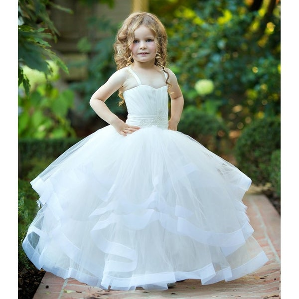 fc1ec9d501e Triumph Dress Girls Ivory Beaded Multilayered Lush Monica Flower Girl Ball  Dress