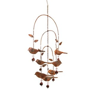 Birds and Bells Mobile Wind Chime - Flamed Copper Finish - 22 in. x 36 in.