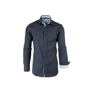 CLEARANCE Navy Blue with Green Pattern, Modern Fit, Long Sleeve Sport Shirt by Tiglio Sport SP9006