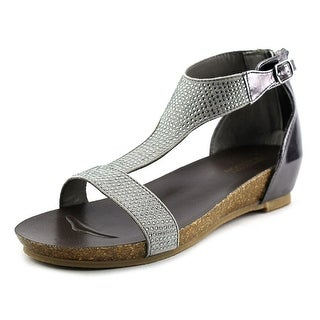 Kenneth Cole Reaction Lexi Wedge Youth Open-Toe Synthetic Silver Flats