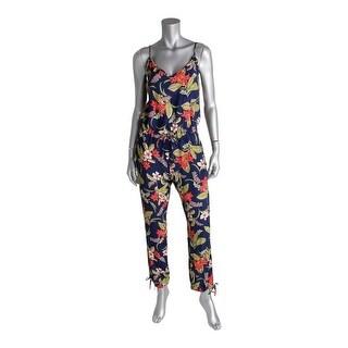 Ralph Lauren Womens Jumpsuit Floral Print V-Neck - s