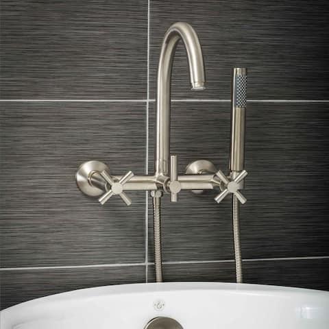 Pelham & White Luxury Tub Filler Faucet, Modern Design, Wall Mount Installation, Cross Handles, Brushed Nickel Finish