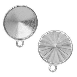 TierraCast Rhodium Plated Pewter Faceted Pendant Setting For 18mm Rivoli (2)