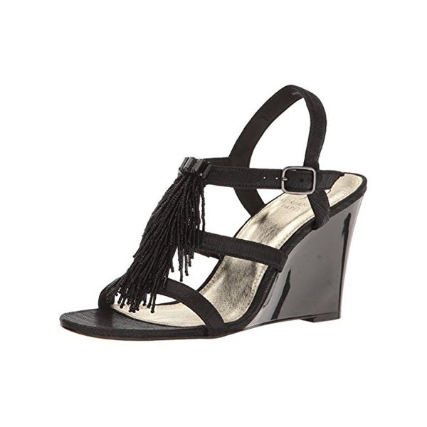 Adrianna Papell Womens Adair Wedge Sandals Patent Beaded