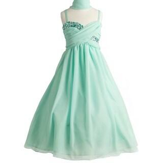 Flower Girl Dress All-Over Chiffon Criss-Cross Long Dress Mint JK 3556