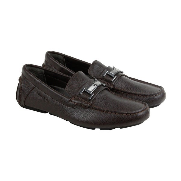 Calvin Klein Magnus Tumbled Mens Brown Leather Casual Dress Loafers Shoes