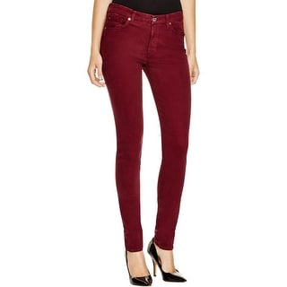 7 For All Mankind Womens Skinny Pants Sateen Mid-Rise
