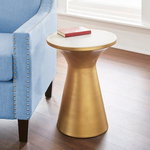 Jamal Steel/ Marble Round End Table by Greyson Living