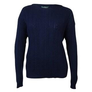 LRL Lauren Jeans Co. Women's Multi-Knit Crewneck Cotton Sweater - White - l