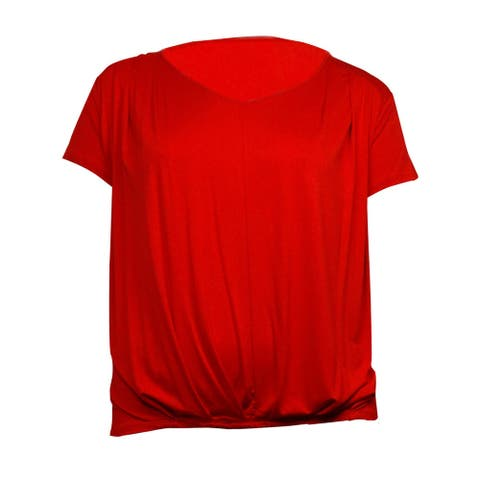 Cable & Gauge Women's V-Neck Pleat Short Sleeves Knit Jersey Top
