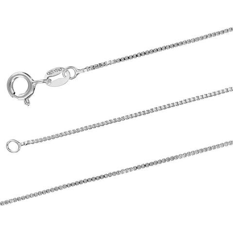 Sterling Silver 1mm X 22 Inches Italian Box Chain Necklace