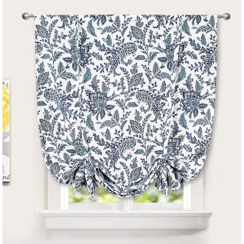 DriftAway Isla Paisley Floral Printed Pattern Blackout Tie Up Curtain