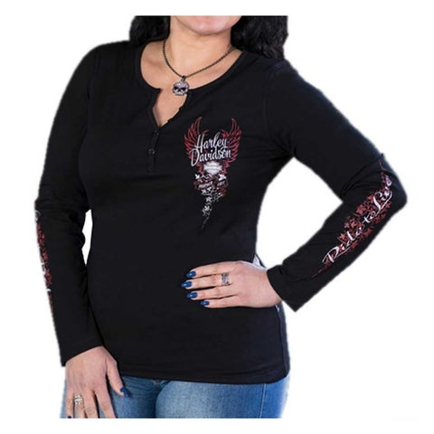 Harley-Davidson Women's Vigilante Metallic Ink Long Sleeve Henley Shirt - Black
