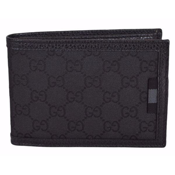 Gucci Men's 292534 Black Nylon GG Guccissima Web W/Coin Large Bifold Wallet