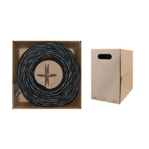 Offex Bulk Shielded Cat6 Black Ethernet Cable, STP (Shielded Twisted Pair), Solid, Spool, 1000 foot