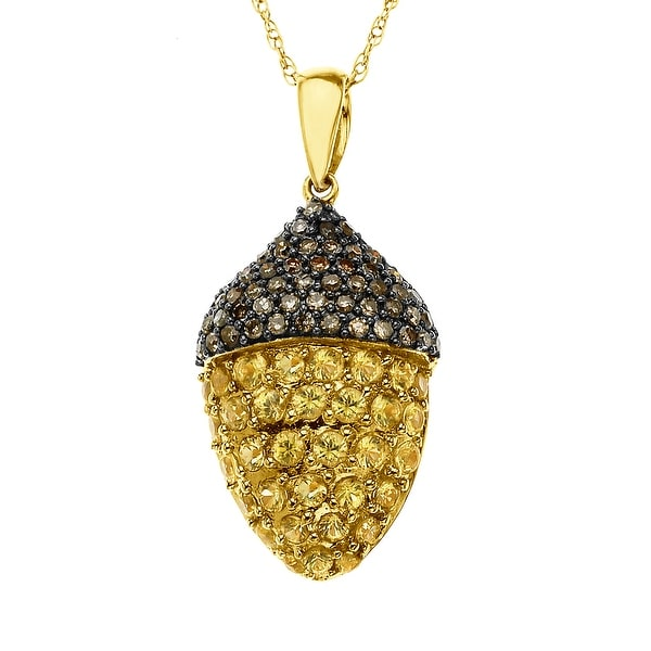 7/8 ct Natural Sapphire & 1/5 ct Diamond Acorn Pendant in 14K Gold - Yellow