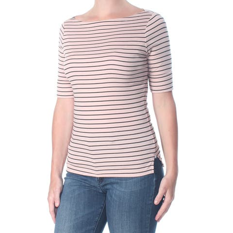 RALPH LAUREN Womens Pink Striped Short Sleeve Top Size: S