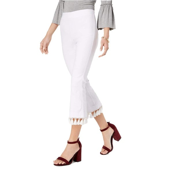 XOXO White Size 0 Junior Tassel Trimmed Slim Fit Pull On Pants