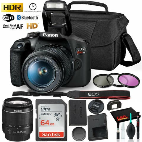 Canon Rebel T7 DSLR Camera with 18-55mm Lens Kit and Sandisk 64GB
