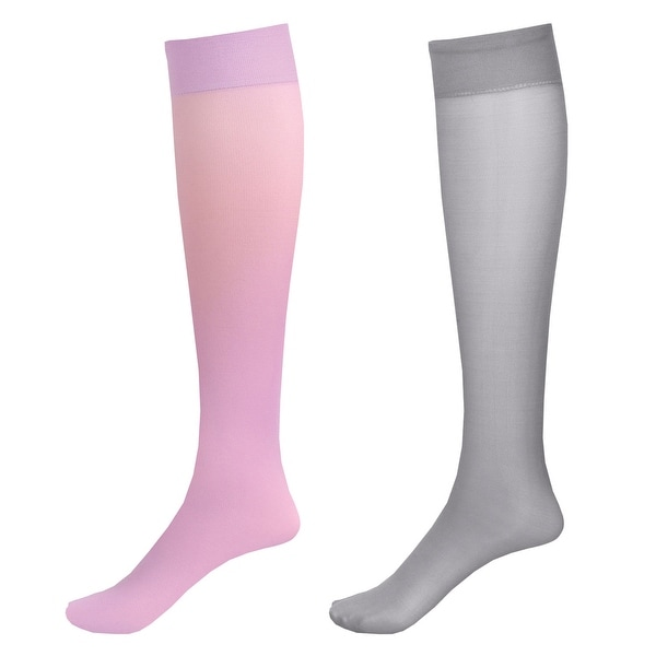 Mild Support 2 Pair Knee High Trouser Socks with 8-15 mmHg Compression - Lavender/Grey - Medium