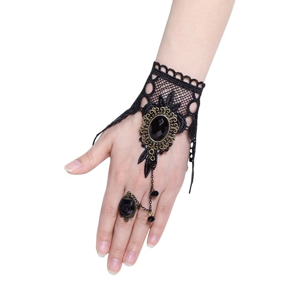 487e51450c Shop Lady Crocheted Lace Rhinestone Flower Slave Finger Ring Bracelet Black  - On Sale - Free Shipping On Orders Over $45 - Overstock - 25715299