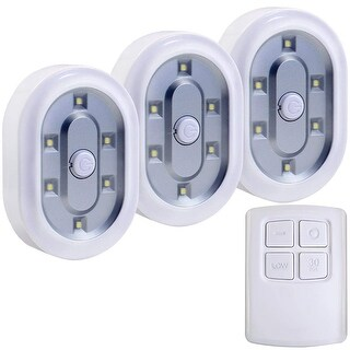 3pcs 6 LED Puck Lights, Under Cabinet Lighting Kit, Wireless Remote Control, Daylight
