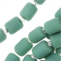 Cultured Sea Glass, Barrel Nugget Beads 10x8mm, 17 Pieces, Dark Green Turquoise