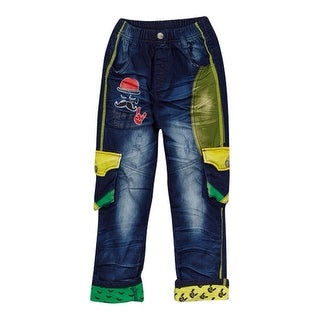 Rock'nStyle Baby Boys Dark Blue Green Yellow Pockets Denim Pants