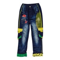 Rock'nStyle Boys Dark Blue Green Yellow Pockets Denim Pants