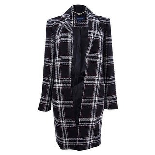 Tommy Hilfiger Women's Open-Front Plaid Coat (2, Black/Ivory/Red) - black/ivory/red - 2
