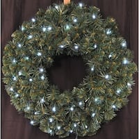 Christmas at Winterland WL-GWSQ-02-LCW-BAT 2 Foot Pre-Lit Battery Operated Pure White LED Sequoia Wreath