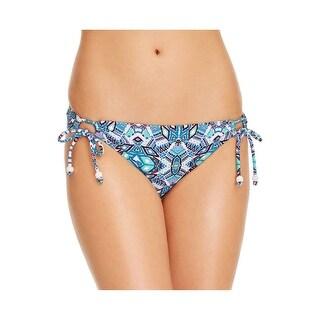 Jessica Simpson Womens Printed Side Tie Bikini Bottom Purple and Blue Large L