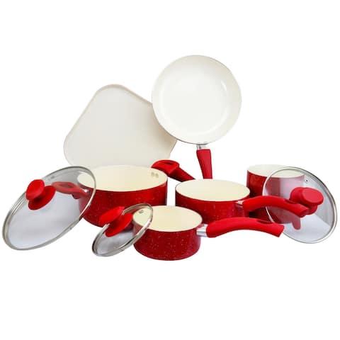 San Jacinto 9 pc Cookware Set - Red Speckle Aluminum - 2.5/2.1/2.0 mm