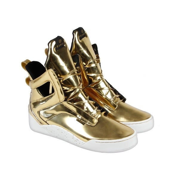 Shop Radii Prism Mens Gold Patent Leather High Top Lace Up Sneakers ... fcbb6698b0f7