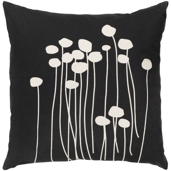 Decorative Black Carlie Floral 22-inch Feather Down Fill Throw Pillow. Opens flyout.