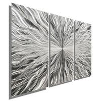 Statements2000 Silver 3 Panel Modern Metal Wall Art Sculpture by Jon Allen - Vortex 3P