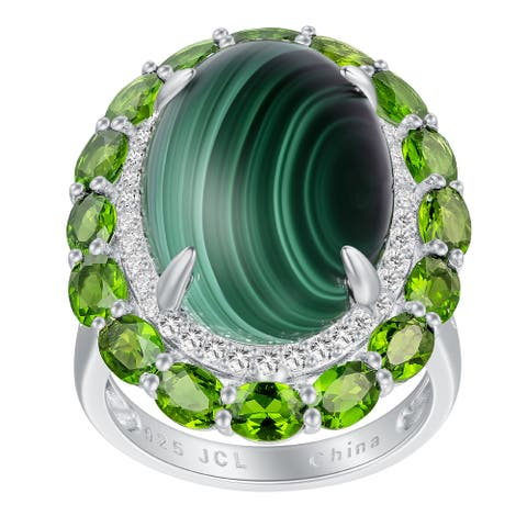 Malachite and Chrome Diopside Floral Style Ring, Sterling Silver