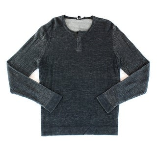 Theory NEW Black Mens Size 2XL Cardigan Wool Knit Henley Sweater