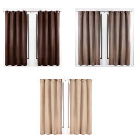 Solid Set of 2 Cotton Window Curtain Panels Grommet Panama