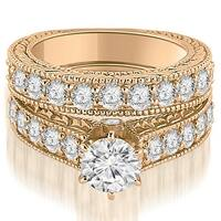 2.65 cttw. 14K Rose Gold Antique Cathedral Round Cut Diamond Engagement Set