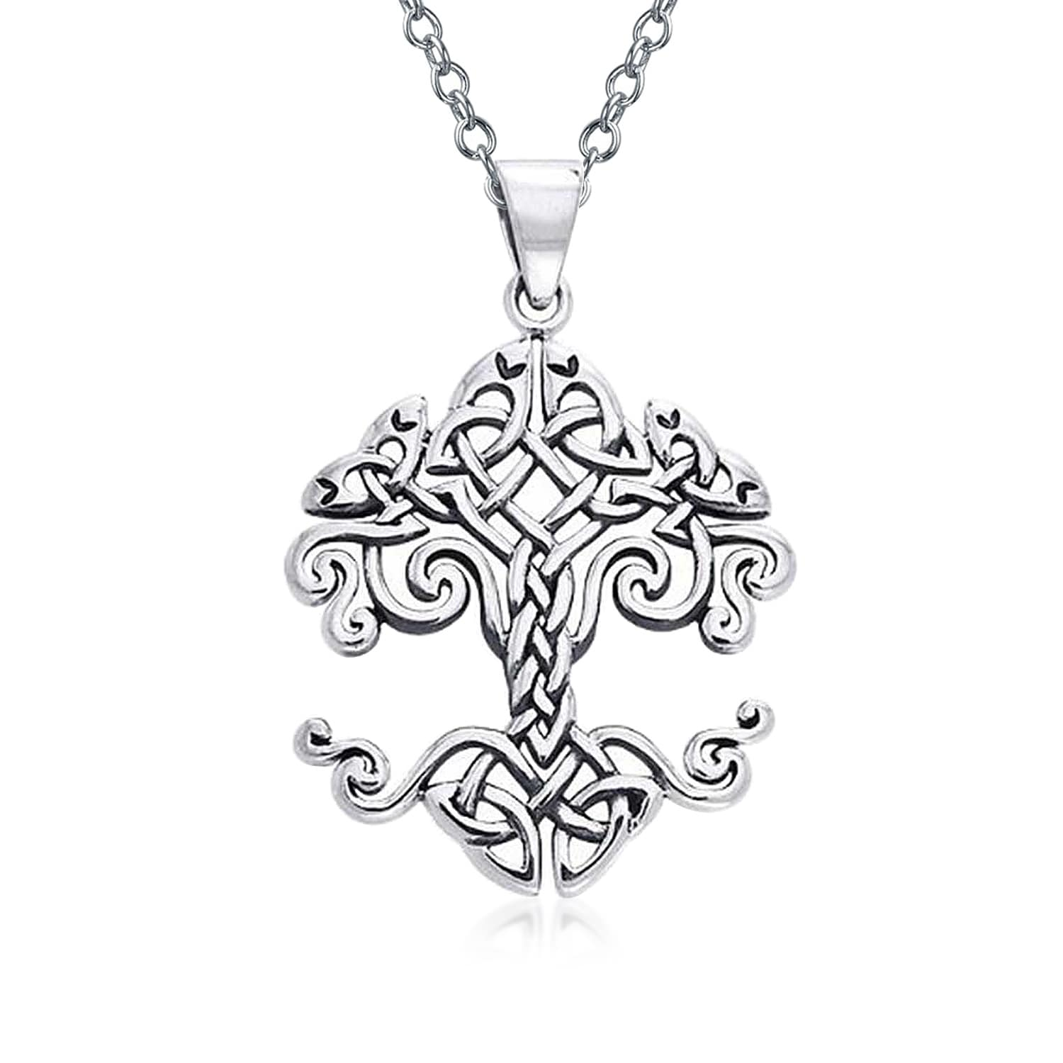Antique Triquetra Necklace Trinity Celtic leaves tree of life Knot Celtic Necklace Sterling Silver Celtic Tree of Life Necklace