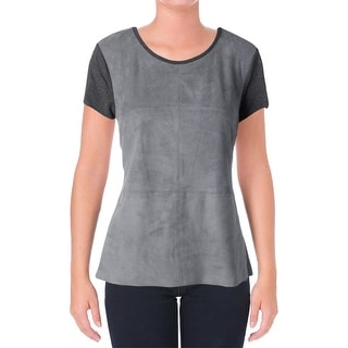 Vince Camuto Womens Glacier Dream Heathered Faux Suede Pullover Top